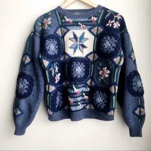 RARE Vintage Wool Woolrich Knit & Crochet Sweater